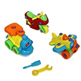 Take Apart Toy - 3 Piece Vehicle Building Set with Airplane Motorcycle and Train - Includes Plastic Tools for Disassembly | Assembly Toys for Boys and Girls - DIY Fix It Tool Set Assembly Kit
