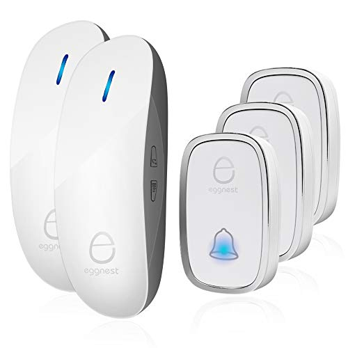 Wireless Intercom Kit - Wireless Doorbell Door Chime Kit Portable Waterproof Push Button over 900ft Long Range 4-Level Volume & Blue Light 36 Melodies to Choose-White (3Transmitters-2Receivers)