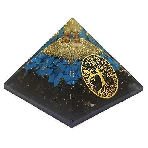 Black Tourmaline Crystal Pyramid Powerfully Protects from Panic Attack EMF Negative Energy. Purifies Environment Blocks Negative Mind Control. Premium Organite PyramidChakra Balancing