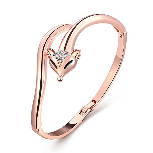 iCAREu Rose Gold Plated Personalized Fox Bangle with Czechic Diamond