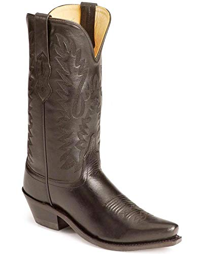 Old West Black Womens All Leather 12in Snip Toe Cowboy Western Boots 6 B