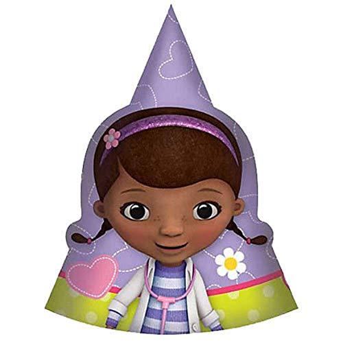 DOC MCSTUFFINS CONE HATS (8) ~ Birthday Party Supplies Favors Disney Junior -