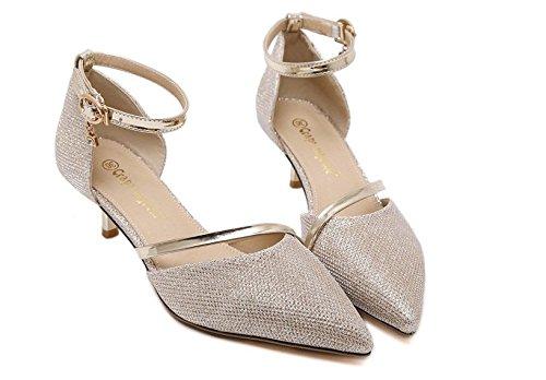 moda della oro yalanshop La fibbia scarpe scarpe con donna punta parola sandali 36 6zEwqz