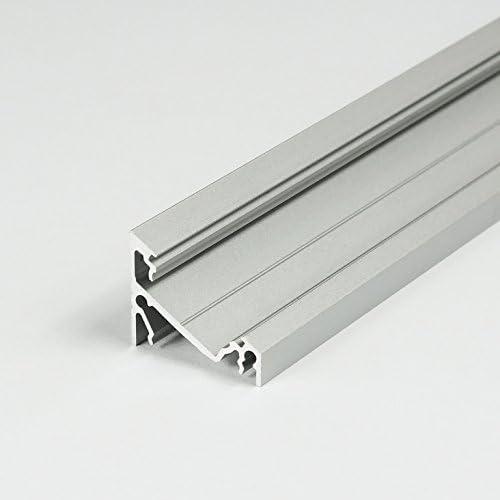 LED aluminium profielResiga LED aluminium profiel aluminium LEDprofiel LEDprofiel 04 Silber Eloxiert Ohne Abdeckung