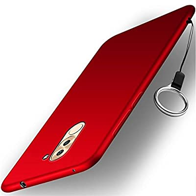 Huawei Honor 6X Funda + Acollador, Flexible Suave Silicona Gel Carcasa, Ultra Delgado y Ligero Protectora Completa TPU Goma Caso, Anti-Arañazos Anti-Huellas Dactilares Caja - Rojo