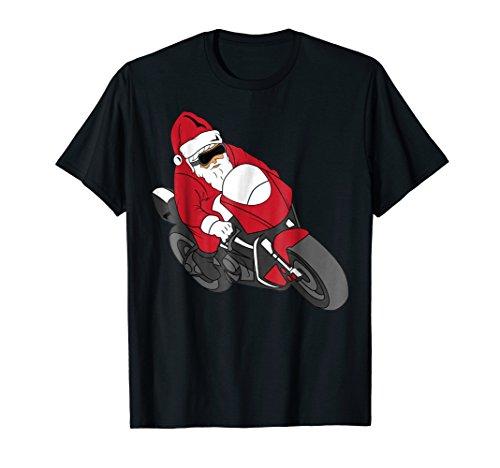 Christmas Motorcycle - Mens Santa Motorcycle T-Shirt | Funny Christmas Bike Shirt 2XL Black