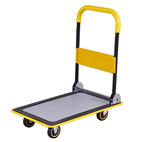 Loading Platform (Goplus Folding Platform Cart 330LB Rolling Flatbed Cart Hand Platform Truck Push Dolly for Loading (330lbs))
