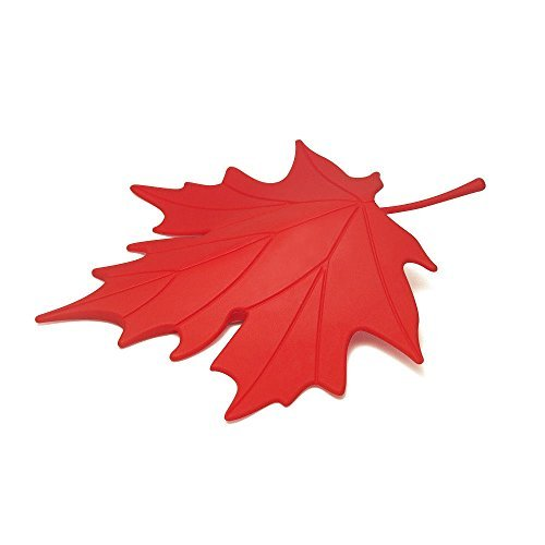 Door Stopper Wedge Autumn by Qualy Design Studio. Leaf Shape. Design Oriented and Functional Door Stop. Great Housewarming Gift. Made of Plastic. Red Color. by Qualy