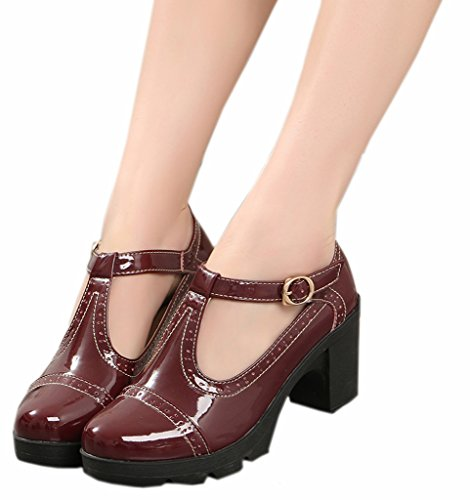 DADAWEN Women's Classic T-Strap Platform Mid-Heel Square Toe Oxfords Dress Shoes Wine Red US Size 9