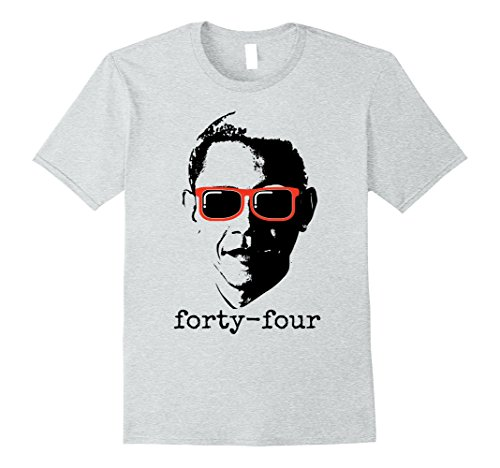 Mens Obama 44 President T-Shirt Small Heather - With Sunglasses Barack Obama