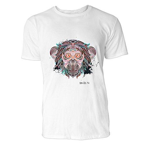 SINUS ART® Affenkopf mit indischem Muster Herren T-Shirts in Weiss Fun Shirt mit tollen Aufdruck