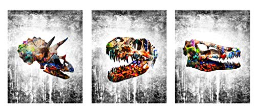 Dinosaur Modern Graffiti Home Wall Decor Art Prints - 3 Piece 8 x 10 Set - Cute Wall Hangings for House, Bedroom, Nursery or Boys/Kids Room. Decorations/House Decore ft Raptor, T-rex, Triceratops - Dinosaur Art