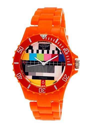 (NY London Retro Classic Unisex Testpage Closedown TV Screen Test Pattern Women Men Plastic Bracelet Watch Ladies Watch Mens Watch Wristwatch Orange including Watch Box and Bracelet)