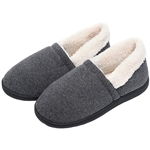 LINGTOM Men's House Slippers Anti-Slip Cotton Memory Foam Slip-On Shoes Indoor/Outdoor,Dark Grey by LINGTOM