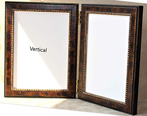 (Antique Simulated Tortoise shell finish with Beaded Edge Double Photo Frame, Antique Black Double frame, Whitman Collection)