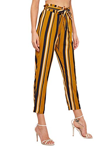 Belted Striped Sweater - SweatyRocks Women's Casual Striped High Waist Stretchy Skinny Slim Long Pants Mustard Medium