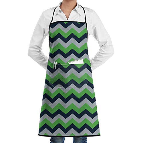 Seattle Seahawks Chevron Bib Apron Chef Apron - with Pockets for Male and  Female 44beb46d2
