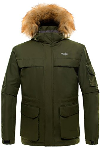 Wantdo Men's Detachable Hood with Fur Parka Waterproof Ski Jacket Army Green US X-Large