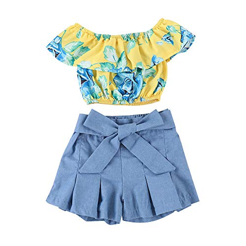 Kids Baby Girls Outfits Floral Ruffle Off Shoulder Crop Tops + Bowknot Denim Shorts Skirt Set Toddler Summer Clothes (Blue, 6-7 Years) ()