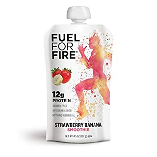 Fuel For Fire - Fruit & Protein Smoothie Squeeze Pouch 4.5 oz - 9 Ingredients - Perfect for Workouts, Kids, Snacking - Gluten-Free, Soy-Free, Kosher, No Added Sugar (Strawberry Banana, 12-Pack)