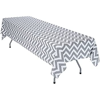 LinenTablecloth Charcoal And White Chevron Rectangular Cotton Tablecloth,  60 X 126 Inch