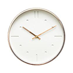 "Luxury Modern 12"" Silent Non-Ticking Wall Clock with Rose Gold Frame (Scandinavian White)"