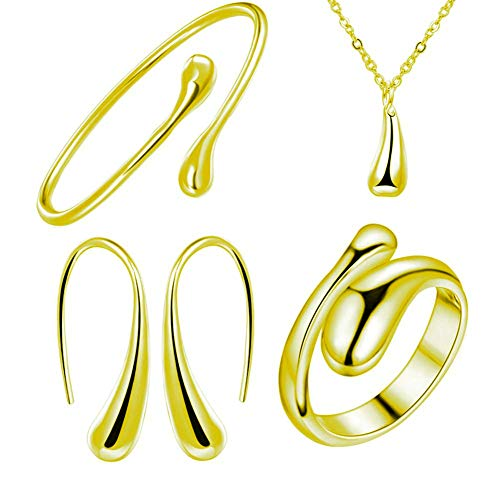 NYKKOLA 925 Sterling Silver Necklace Earring Ring Bangle Set for 4 Pcs (Gold) (925 Silver Sterling Four)