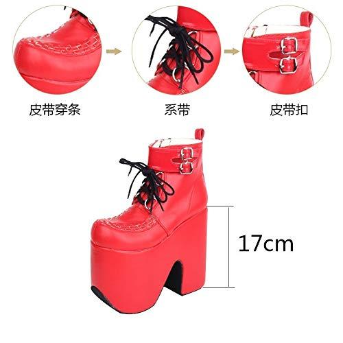 PINGXIANNV Lolita Damenschuhe Punk Stiefel Rot Queen Stiefel Rot Stiefel Plateauschuhe ddd98a