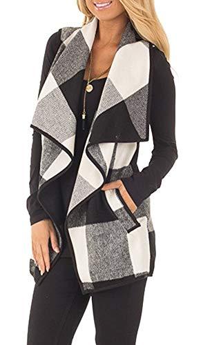 Womens Winter Sleeveless Vest Plaid Hem Drape Open Front Cardigan for Women with Pockets