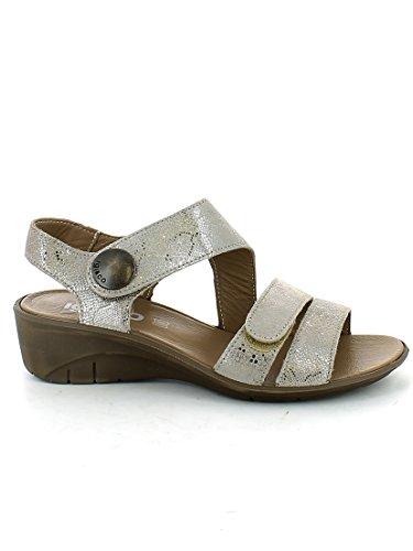 Sandalo in camoscio satinato Taupe con strappi N. 41