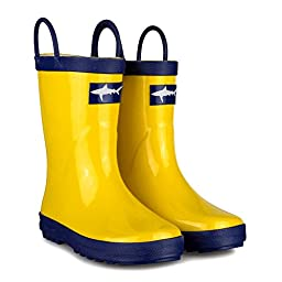 [SBR006P-YELLOW/BLU-Y1] Girls Rain Boots: Yellow & Blue, Easy On, Kids Size 1