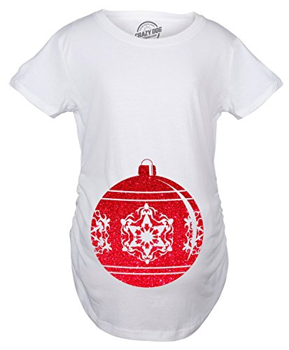 Crazy Dog T-Shirts Maternity Belly Ornament Pregnancy Tshirt Christmas Glitter Decoration Tee for Belly Bump