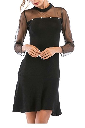 Mini Ruffle Black Jaycargogo Mesh Stitching Women's Sleeve Long Dress Sexy Party Cocktail qBwgHfczB