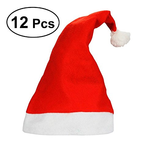 12 Bulk Red and White Santa Christmas Hats - Adult Sized and Perfect For any Holiday Event Crazy Santas