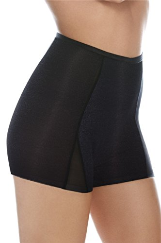 Body Wrap High Waist Shorty In Fine Stretch Control Mesh – Smooth and Contours – Shimmering Black Organza (Boyshort Mesh Fine)