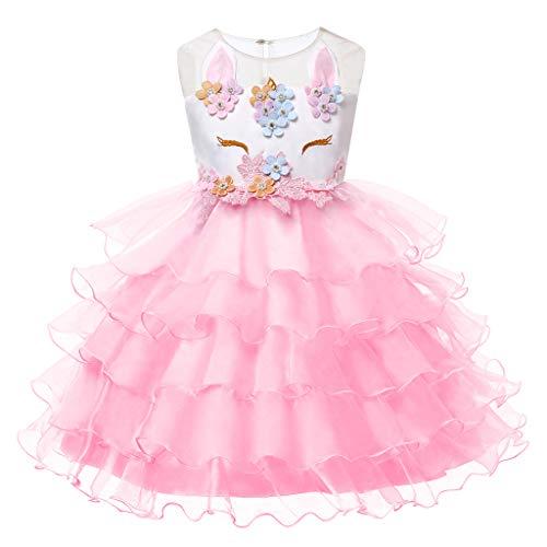 LZH Girls Unicorn Costume Dress Flower Princess Birthday Party Pageant Dress with -