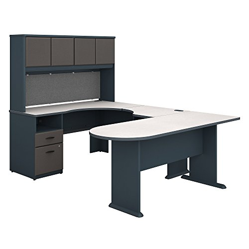 Bush Business Furniture Series A U Shaped Desk with Hutch, Peninsula and Storage - Slate/White Spectrum 71W X 92D X 66H ERGONOMICHOME BUSH BUSINESS FURNITURE Scroll Down for Product Description