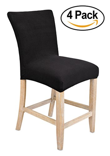 Internet's Best Dining Room Chair Cover | Set of 4 | Stretch Slipover Chair Protectors | Elastic Covers | Black (Bar Covers Chair)