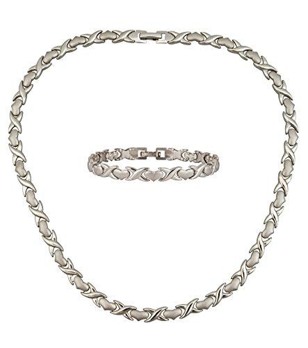 Kiss Jewelry Bracelet - Necklace & Bracelet Womens Jewelry Set Hugs & Kisses Necklace: 17.5
