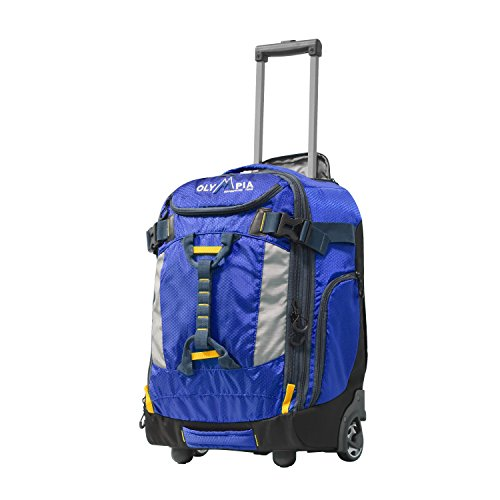 """Olympia Cascade 20"""" Outdoor Upright Carry-on W/Hideaway Backpack Straps, Blue"""
