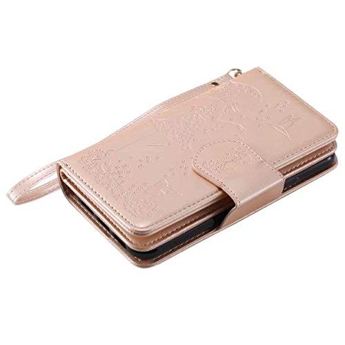 JIALUN-carcasa de telefono Estilo retro en relieve hada chica falso funda de cuero con gran capacidad 9 ranuras para tarjetas y cordón para el iPhone X ( Color : Gold ) Gold