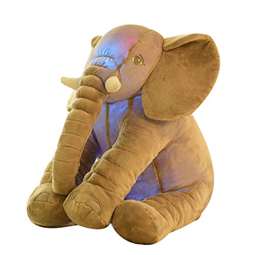 Showking Glowing Elephant Figurine Sleeping Doll Pillow Push Toy Soft Toy-yellow