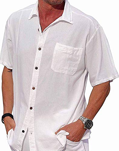 M&B USA Cotton White Short-Sleeve Casual Lightweight Beautiful Embroidered Button Down Shirt (X-Large, White) ()