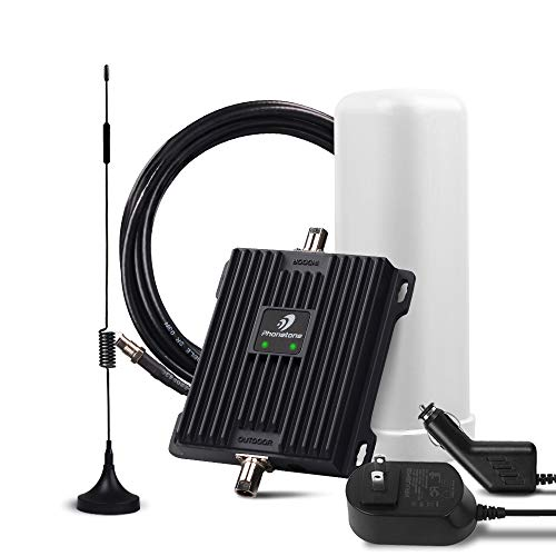 Cell Phone Signal Booster for RV, Motorhome, Cabin, Camper and Boat - Boost Verizon, AT&T T-Mobile 4G LTE Data - 50dB Dual 700MHz Band 12/13/17 Cellular Repeater Kit with Magnet/Omni Antennas