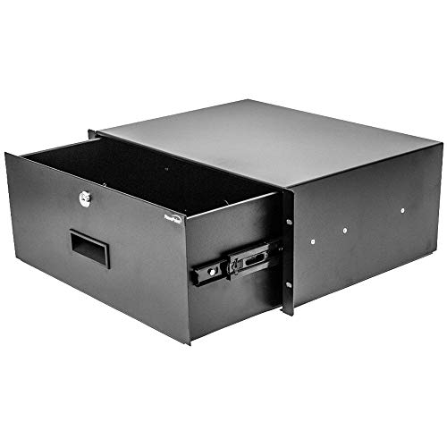 NavePoint Rack Mount Drawer for 19-Inch Server Cabinet Case Or DJ with Lock and Key 4U Black ()