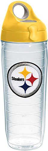 (Tervis 1231148 NFL Pittsburgh Steelers Primary Logo Tumbler with Emblem and Yellow Lid 24oz Water Bottle, Clear)