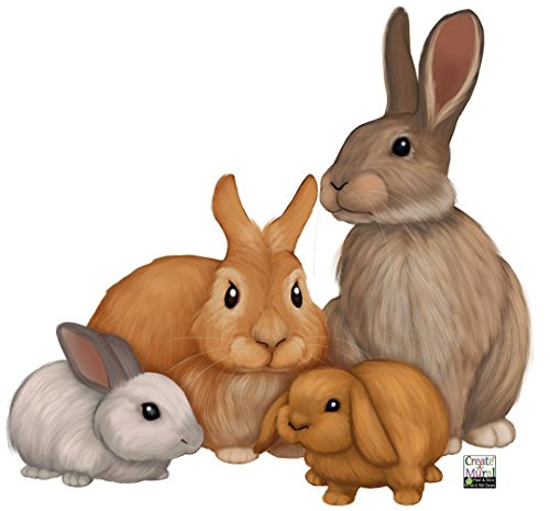 Create-A-Mural Kids Wall Decals, Bunny Rabbit Family Wall Decals -Baby Nursery Room Wall Decor Stickers