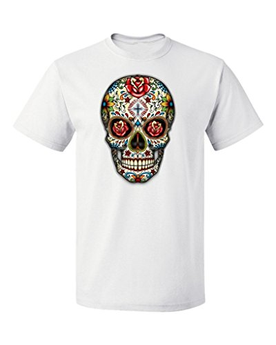 P&B Day Of The Dead Rose Eyes Skull Men's T-Shirt, 3XL, White ()