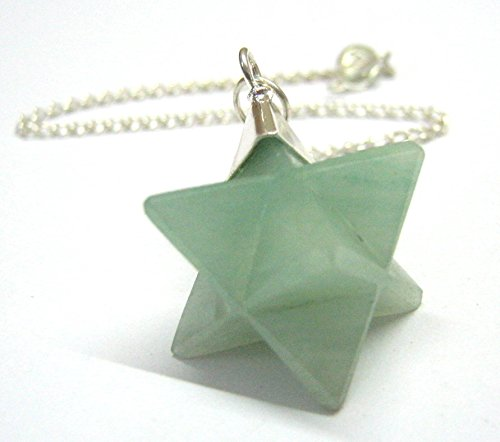 CRYSTALMIRACLE BEAUTIFUL GREEN AVENTURINE QUARTZ MERKABA STAR PENDULUM HEALING CRYSTAL REIKI MEN WOMEN GIFT FENG SHUI METAPHYSICAL DOWSING PROSPERITY GEMSTONE SUCCESS POWER by CRYSTALMIRACLE