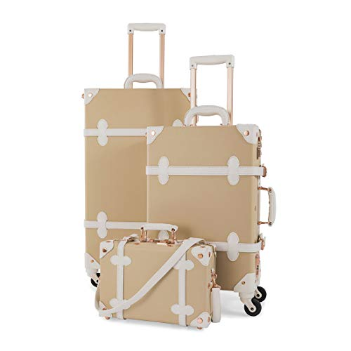 COTRUNKAGE 3 Piece Vintage Luggage Set TSA Lock Retro Trunk (12